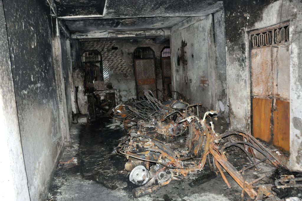 A view of the house where four members of a family were killed in a fire that broke out in Dilshad Colony area of Seemapuri, in north Delhi on July 7, 2017.