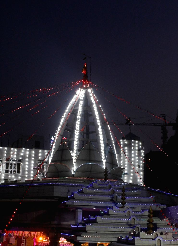 A view of the illuminated Jhandewalan Temple on the eve of Navaratri celebrations, in New Delhi on Oct 16, 2020.