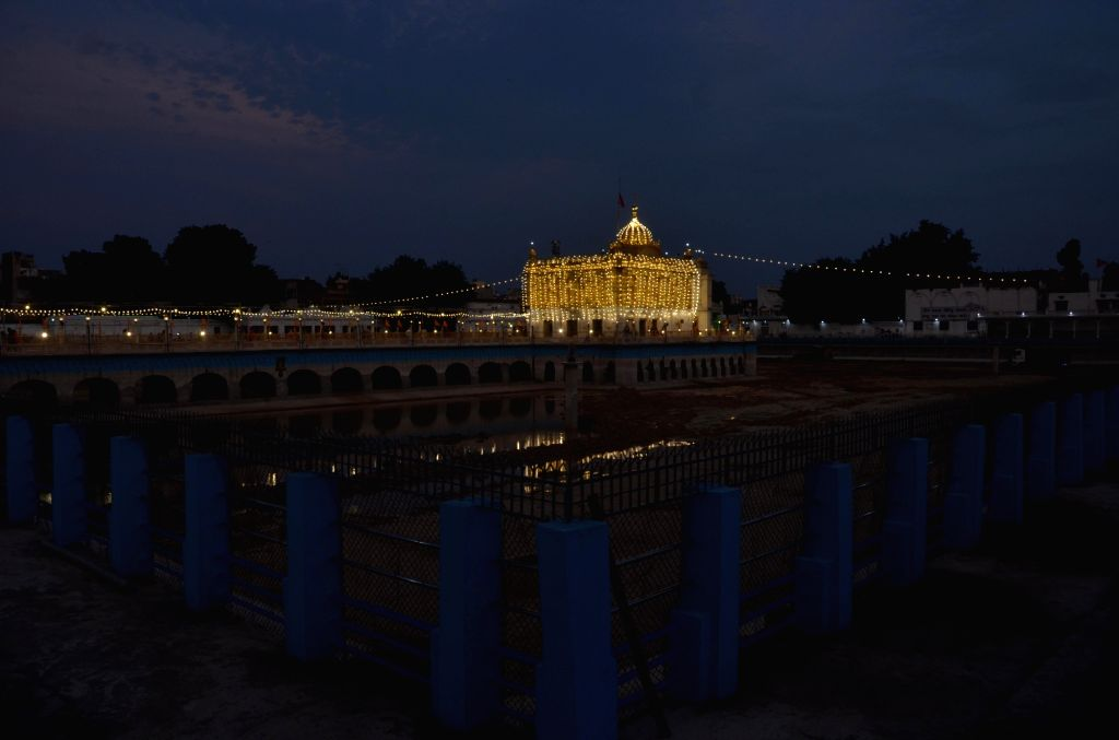 A view of the illuminated Shri Durgiana Temple, also known as Lakshmi Narayan Temple as celebrations break out on the day when Prime Minister Narendra Modi performed the 'Bhumi Pujan' for ... - Narendra Modi