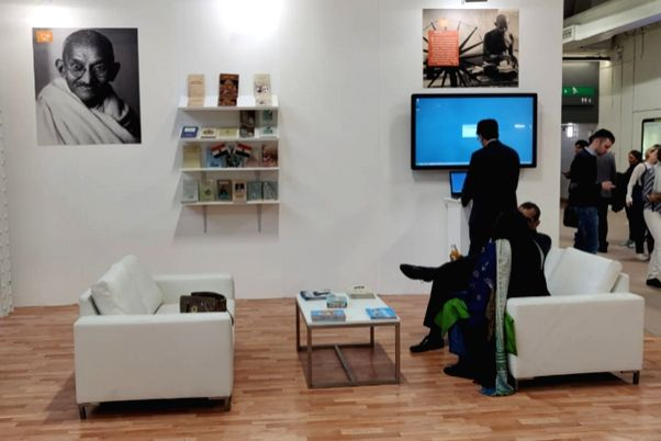 A view of the India Pavilion at London Book Fair that lays special focus on Mahatma Gandhi's 150th birth anniversary, at Pragati Maidan in New Delhi. The pavilion is displaying the ...