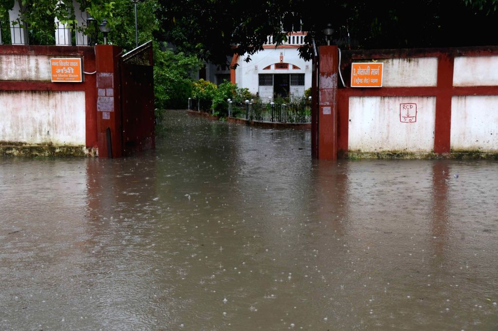 A view of the inundated premises of Bihar Road Construction Department during rains in Patna on July 4, 2020.