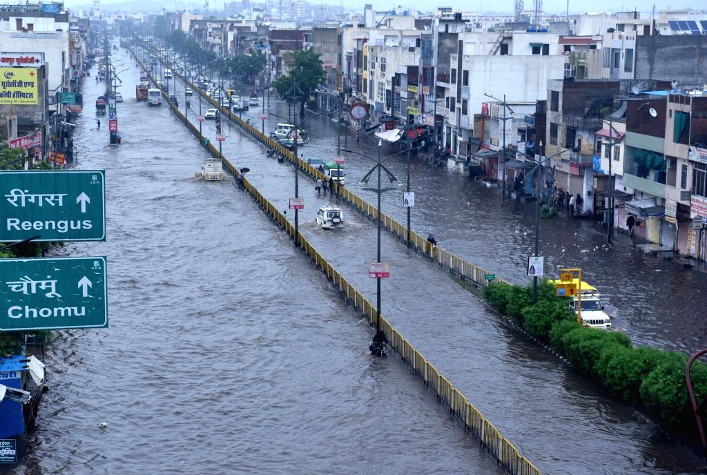 A view of the inundated Sikar Road after heavy rains, in Jaipur on July 26, 2019.