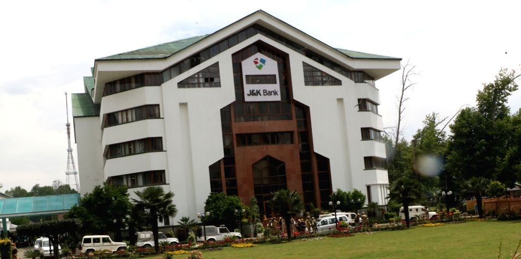 A view of the J&K Bank where raids by the state Anti-Corruption Bureau (ACB) are underway, in Srinagar on June 8, 2019. Within hours after the Jammu and Kashmir government sacked ...