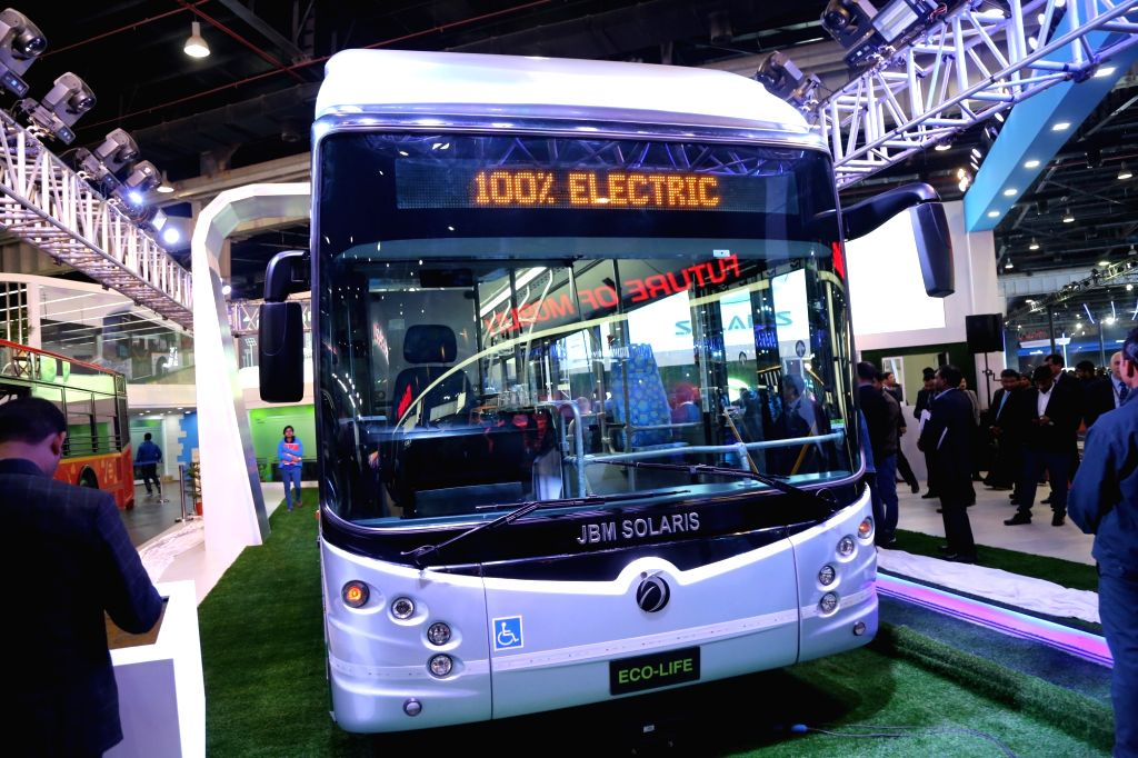 A view of the JBM Solaris electric bus at Auto Expo 2018 in New Delhi on Feb 7, 2018.
