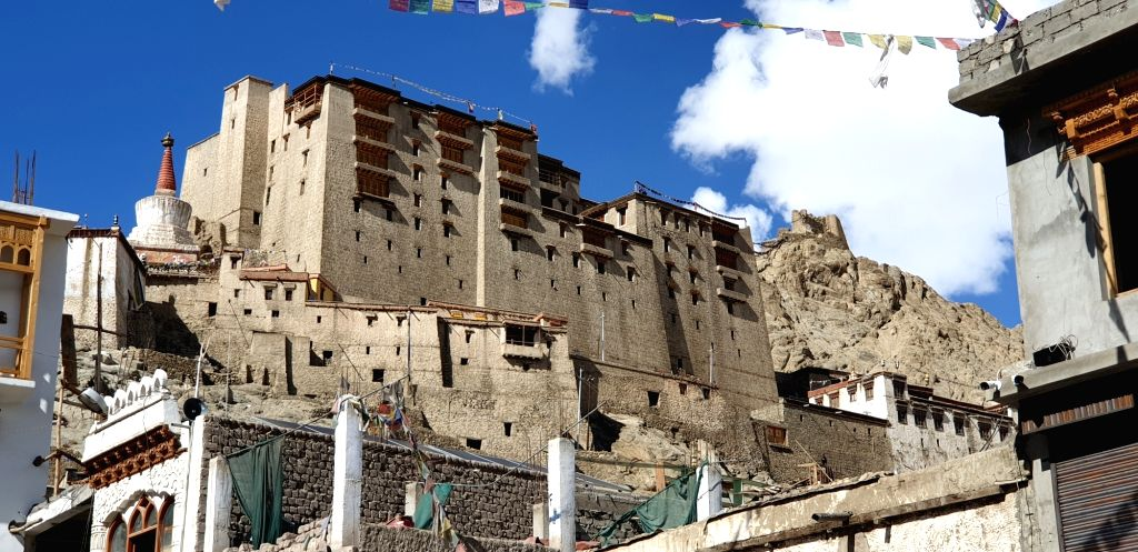 A view of the Leh Palace in Jammu and Kashmir. it is a former royal palace that was built by King Sengge Namgyal in the 16th century.