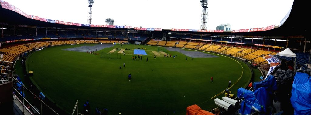 A view of the M. Chinnaswamy Stadium ahead of the 4th ODI between India and Australia in Bengaluru on Sept 27, 2017.