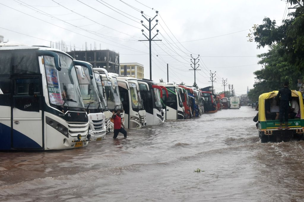 A view of the Mithapur Bus Stand during floods in Patna, on 29 Sep, 2019.