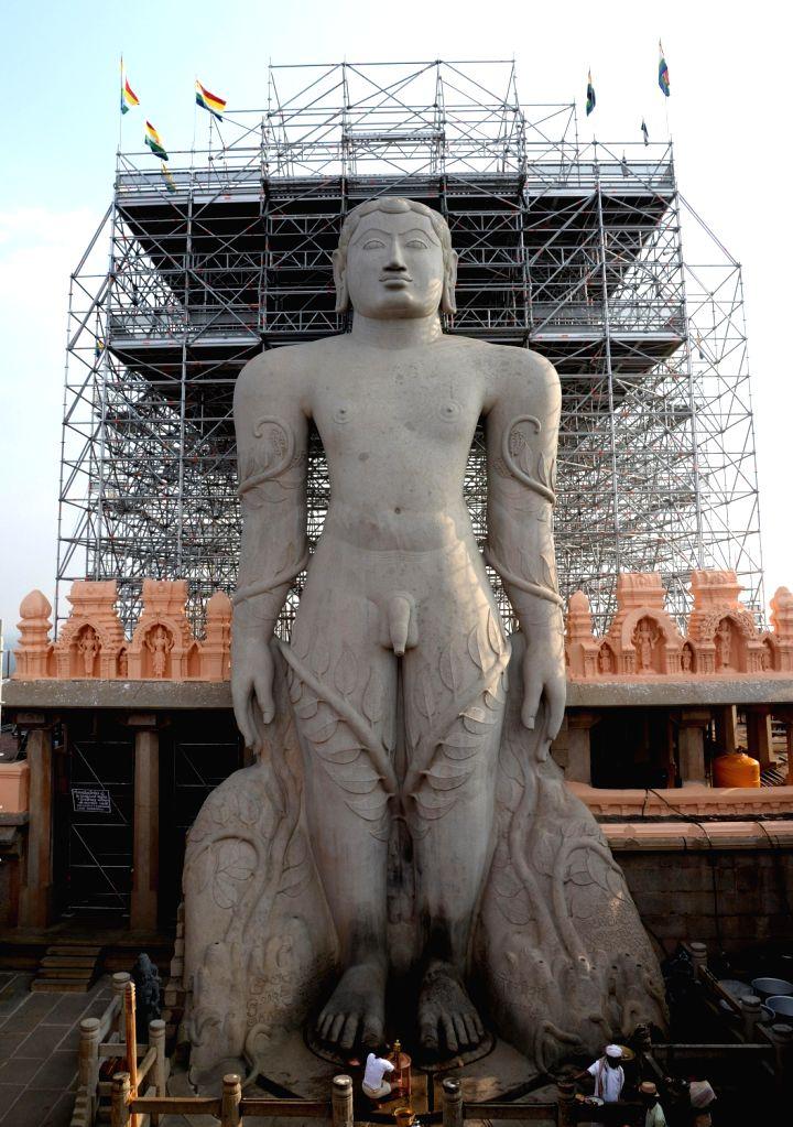 A view of the monolithic statue of Lord Bahubali at Shravanabelagola, in Channarayapatna of Karnataka on Feb 7, 2018.