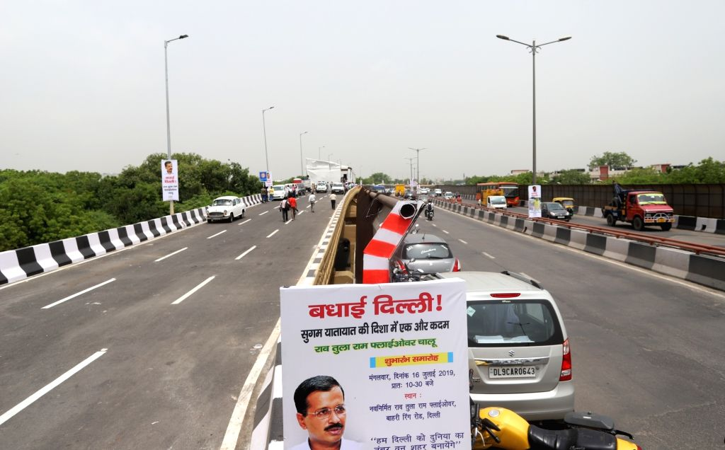 A view of the newly constructed Rao Tula Ram (RTR) Flyover at Outer Ring Road near Munirka in New Delhi, on July 16, 2019.
