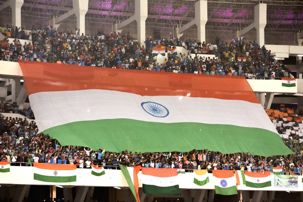 A view of the packed Vivekananda Yuba Bharati Stadium during the third match of FIFA World Cup Qatar 2022 and AFC Asian Cup China 2023 Joint Qualifiers between India and Bangladesh, in ...