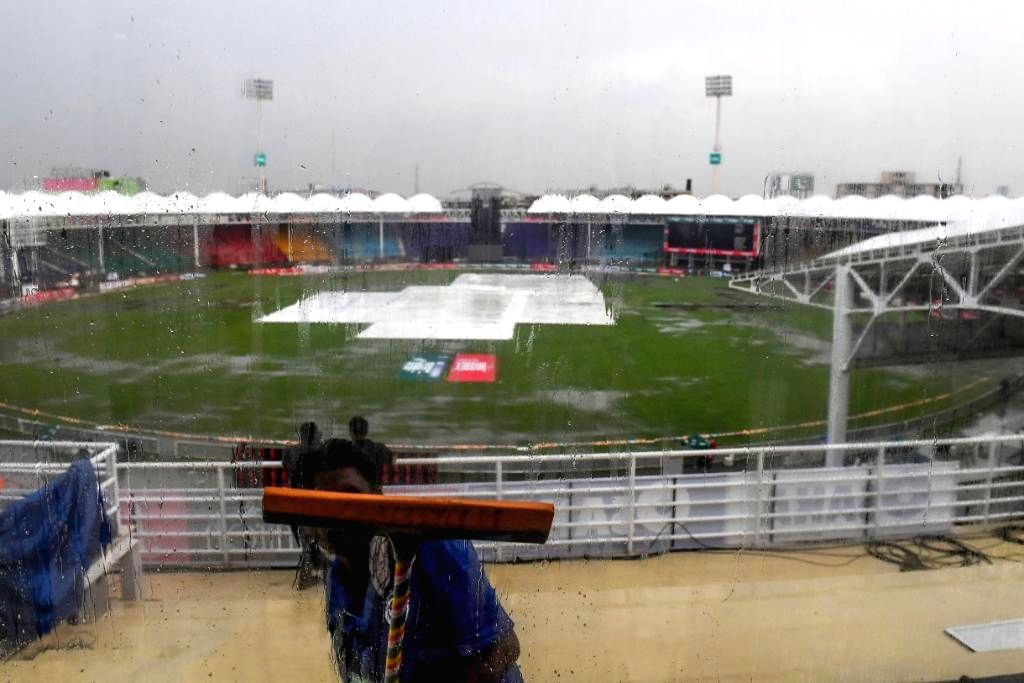 A view of the pitch at the National Stadium covered with plastic sheets during rains that interrupted the 1st ODI match between Sri Lanka and Pakistan in Karachi, Pakistan on Sep 27, 2019.