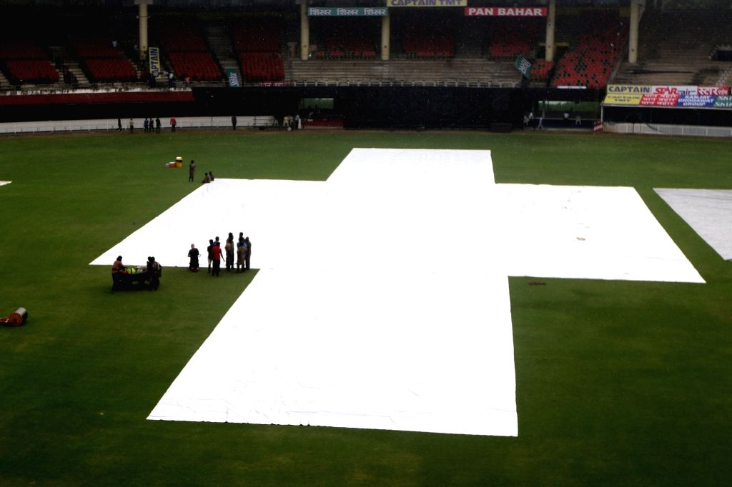 A view of the pitch covered with plastic sheets during West Indies' practice session ahead of the 1st one-day international (ODI) match against India, at the MA Chidambaram stadium in ...