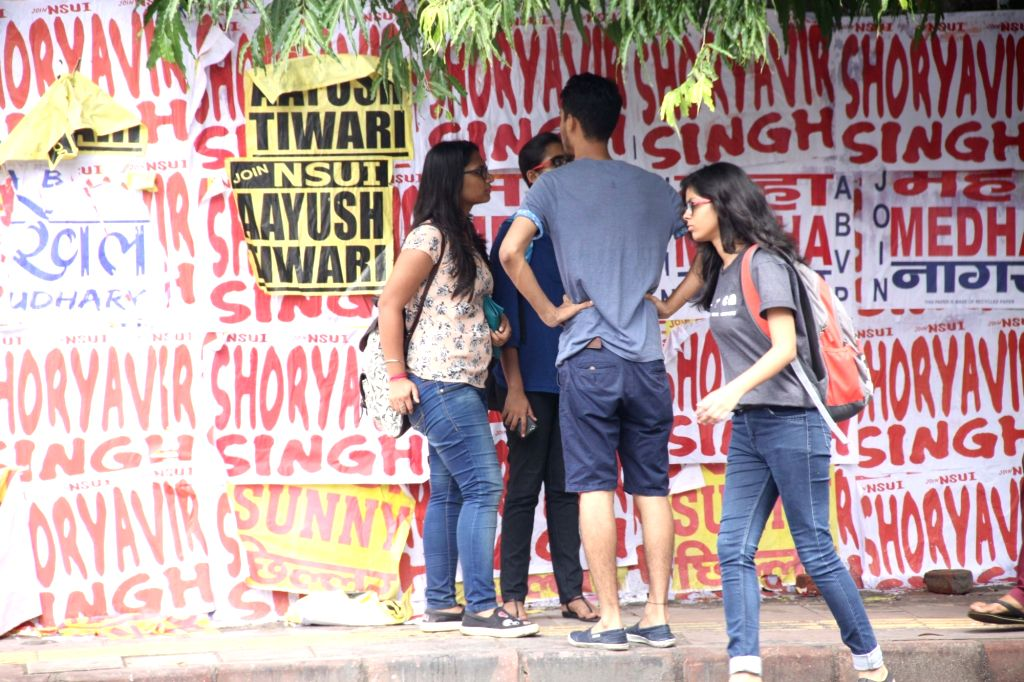 A view of the posters displaying the names of contesting candidates ahead of Delhi University (DU) elections in New Delhi on Sept 5, 2017.