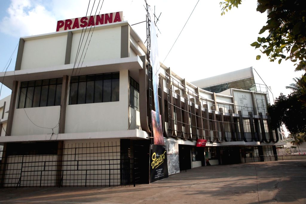A view of the Prasanna theatre ahead of its reopening as part of Unlock 5.0 amid COVID-19 pandemic, in Bengaluru on Oct 7, 2020.