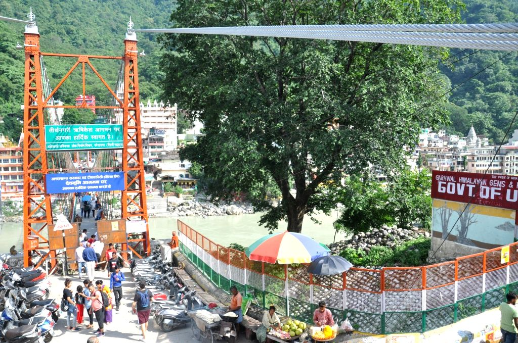 A view of the proposed site for the construction of a new bridge in place of Lakshman Jhula bridge in Rishikesh, Uttarakhand on Sep 21, 2019.