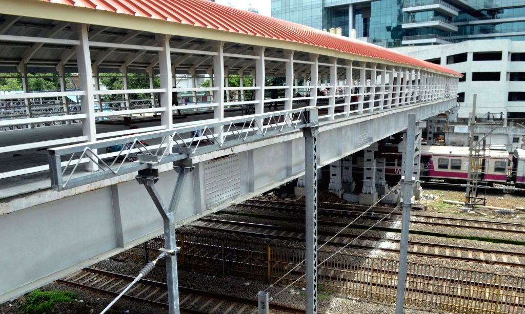 A view of the re-constructed footover bridge at Elphinstone railway station which is expected to be thrown open to the public soon, in Mumbai on July 1, 2018.