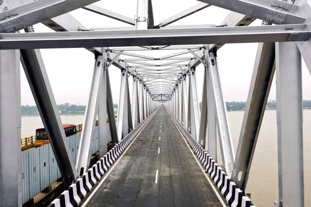 A view of the rehabilitated western flank of the Mahatma Gandhi Setu over the Ganga river between Patna and Hajipur on the eve of its inauguration by Bihar Chief Minister Nitish Kumar along ... - Nitish Kumar and Gandhi Setu