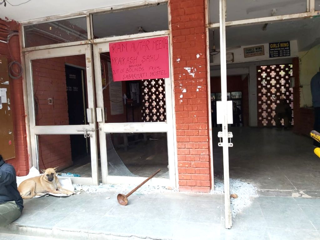 A view of the Sabarmati Hostel that was vandalised during the unprecedented violence at the Jawaharlal Nehru University (JNU) campus on Sunday; in New Delhi on Jan 6, 2020.