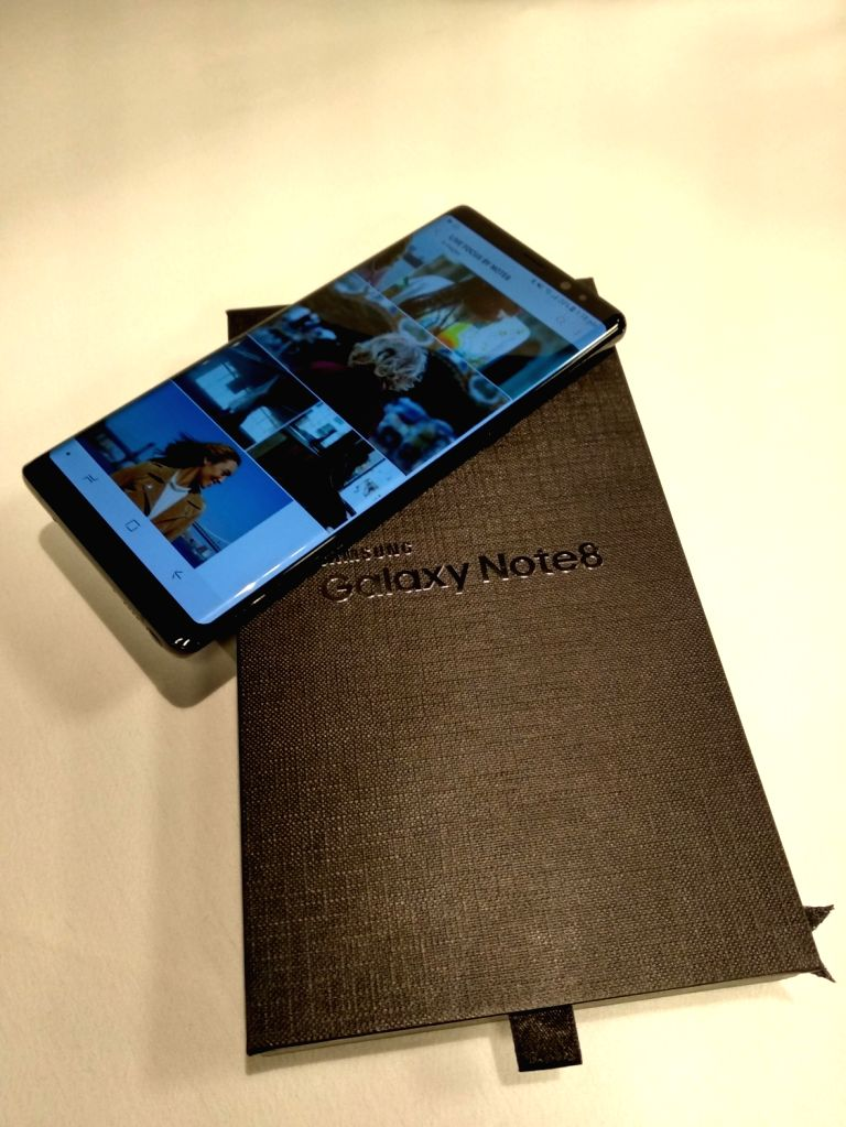 A view of the Samsung Galaxy Note 8 smartphone along with launched by Samsung India in New Delhi on Sept 12, 2017.