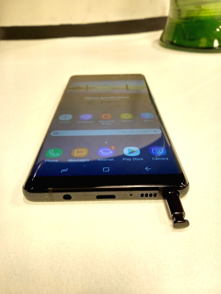 """A view of the Samsung Galaxy Note 8 smartphone along with """"S Pen""""  launched by Samsung India in New Delhi on Sept 12, 2017."""