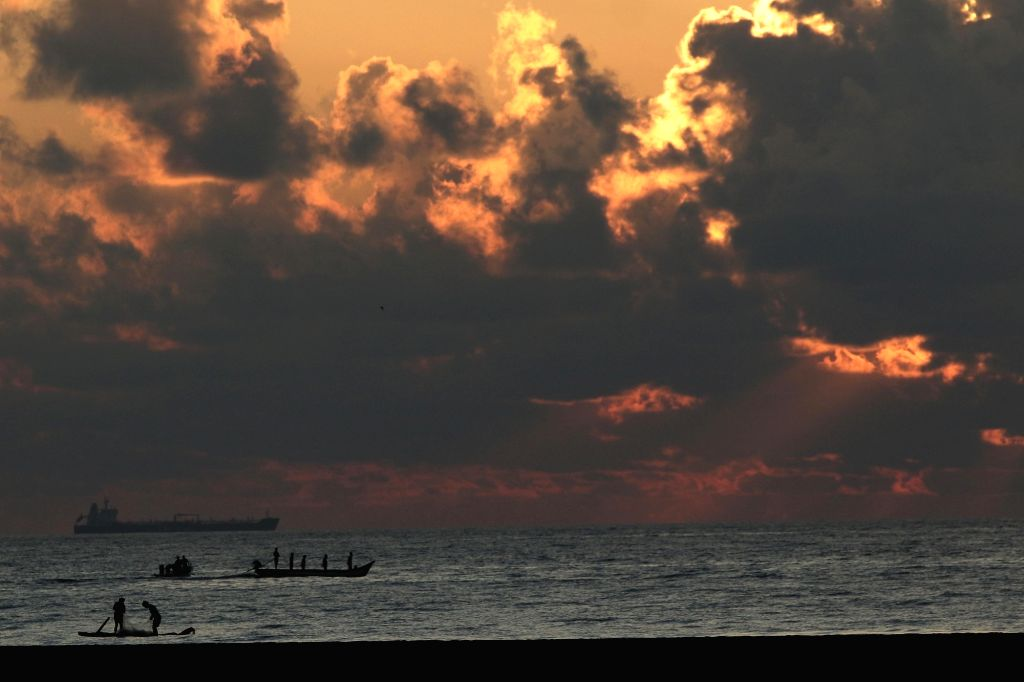 A view of the skies over the Cooum river during sunrise in Chennai during the extended nationwide lockdown imposed to mitigate the spread of coronavirus.