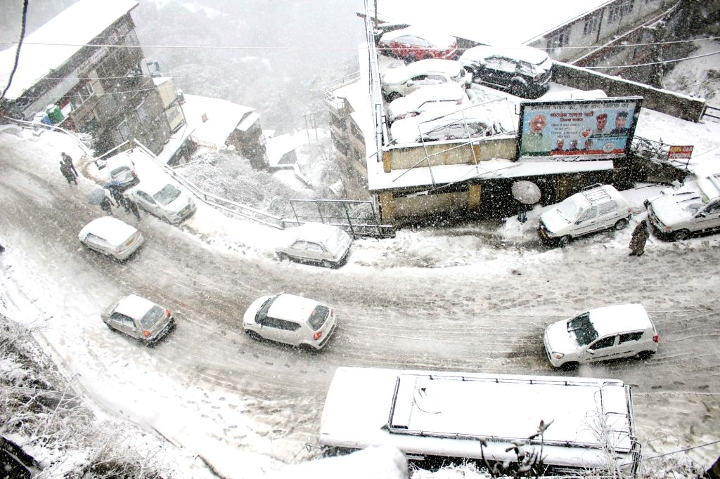 A view of the snow-covered Shimla after heavy snowfall, on Jan 22, 2019.