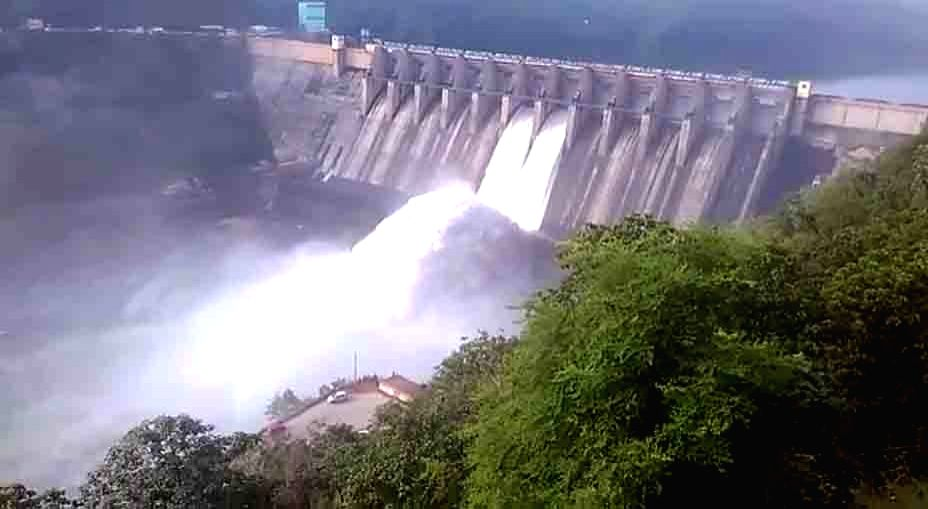 A view of the Srisailam projects after two of its flood gates were lifted letting out 56,000 cusecs of flood water in Hyderabad on Oct 12, 2017.
