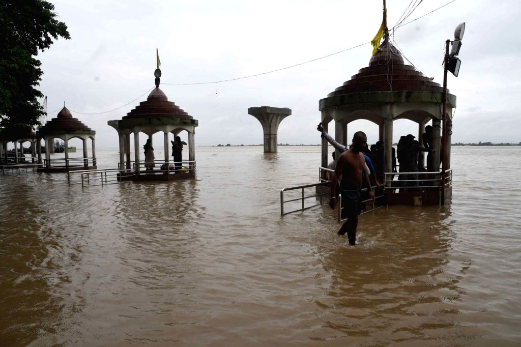 A view of the swollen Ganga river at Gandhi Ghat in Patna on Sep 27, 2019.