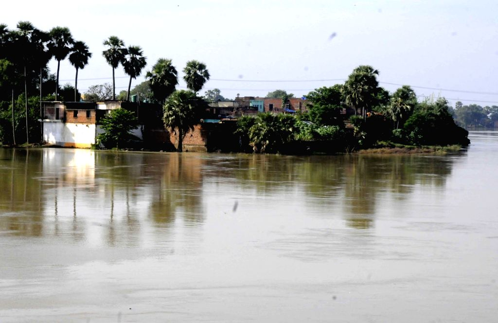 A view of the swollen Punpun river in Patna on Aug 21, 2017.