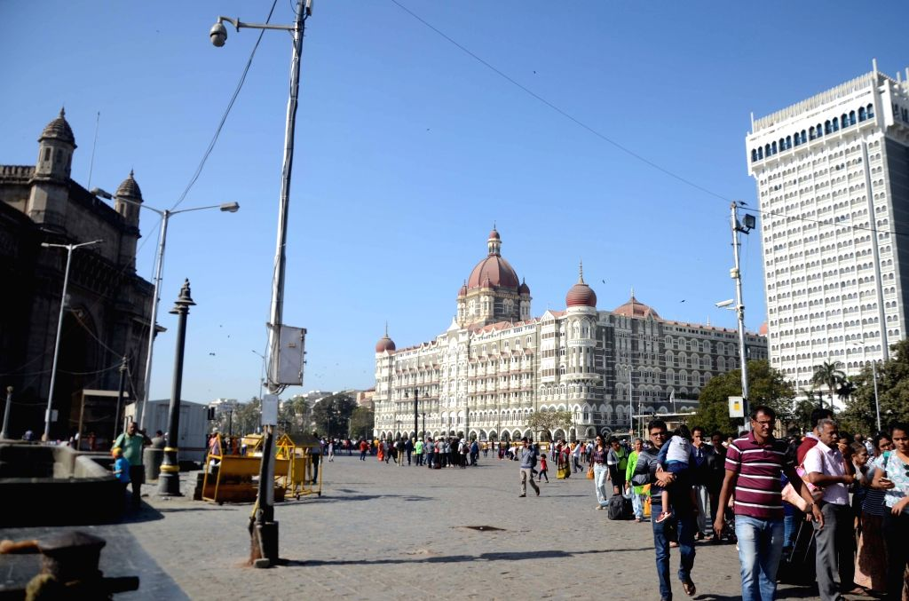 A view of the Taj Mahal Palace Hotel and Gateway of India in Mumbai. (File Photo: IANS)
