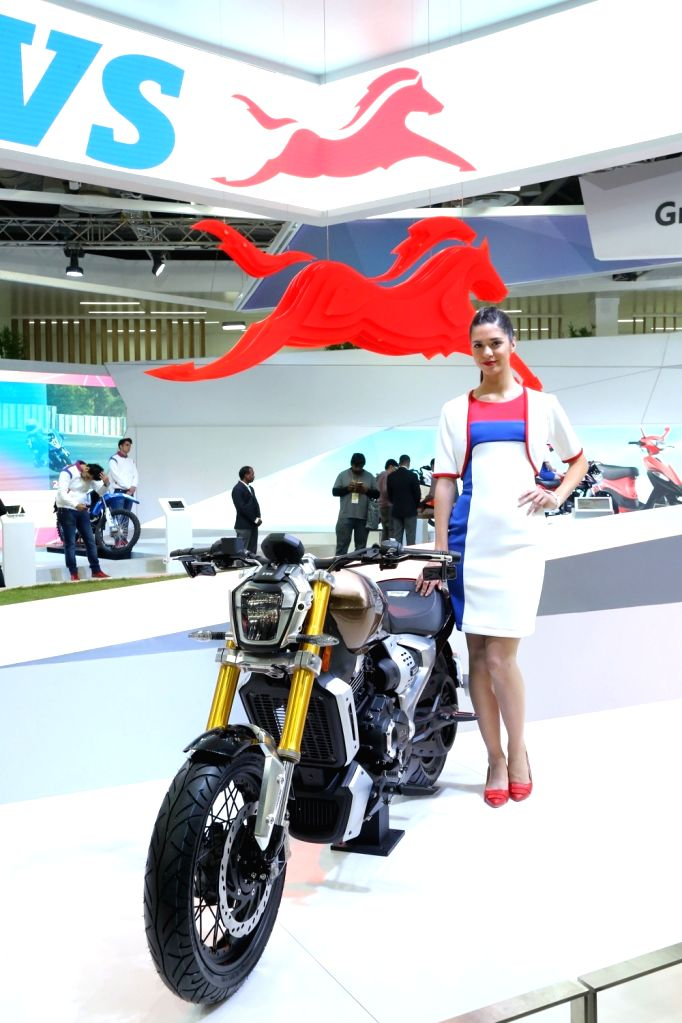 A view of the TVS Zeppelin cruiser motorcycle at the Auto Expo 2018 in New Delhi on Feb 7, 2018.