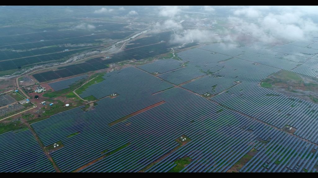 A view of the Ultra Mega Solar Power project in Madhya Pradesh's Rewa that was inaugurated by Prime Minister Narendra Modi from New Delhi via video conferencing on July 10, 2020. Union Power ... - Narendra Modi and Shivraj Singh Chouhan