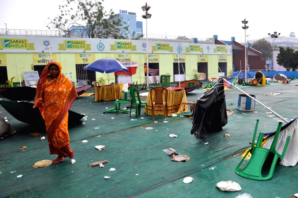 A view of the venue of 14th Saras Mela at Salt Lake Central Park after rains and storm hit Kolkata, on Feb 25, 2019.