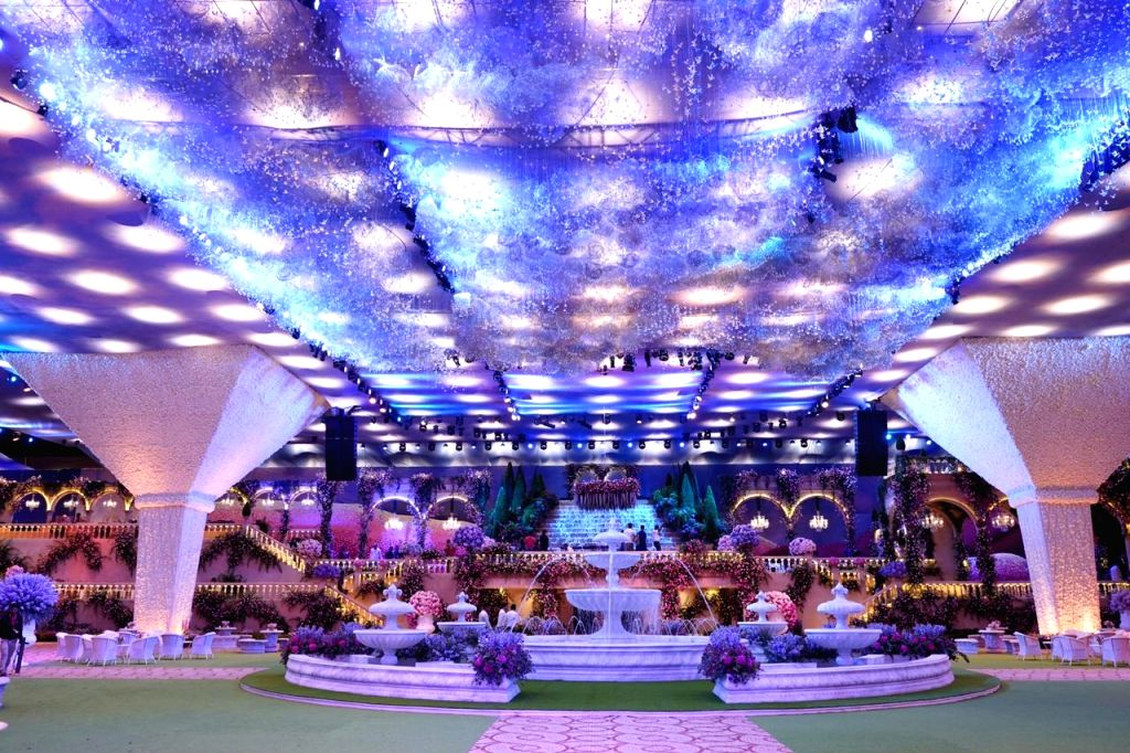 A view of the venue of wedding festivities of Akash Ambani and Shloka Mehta in Mumbai on March 9, 2019. - Akash Ambani and Shloka Mehta