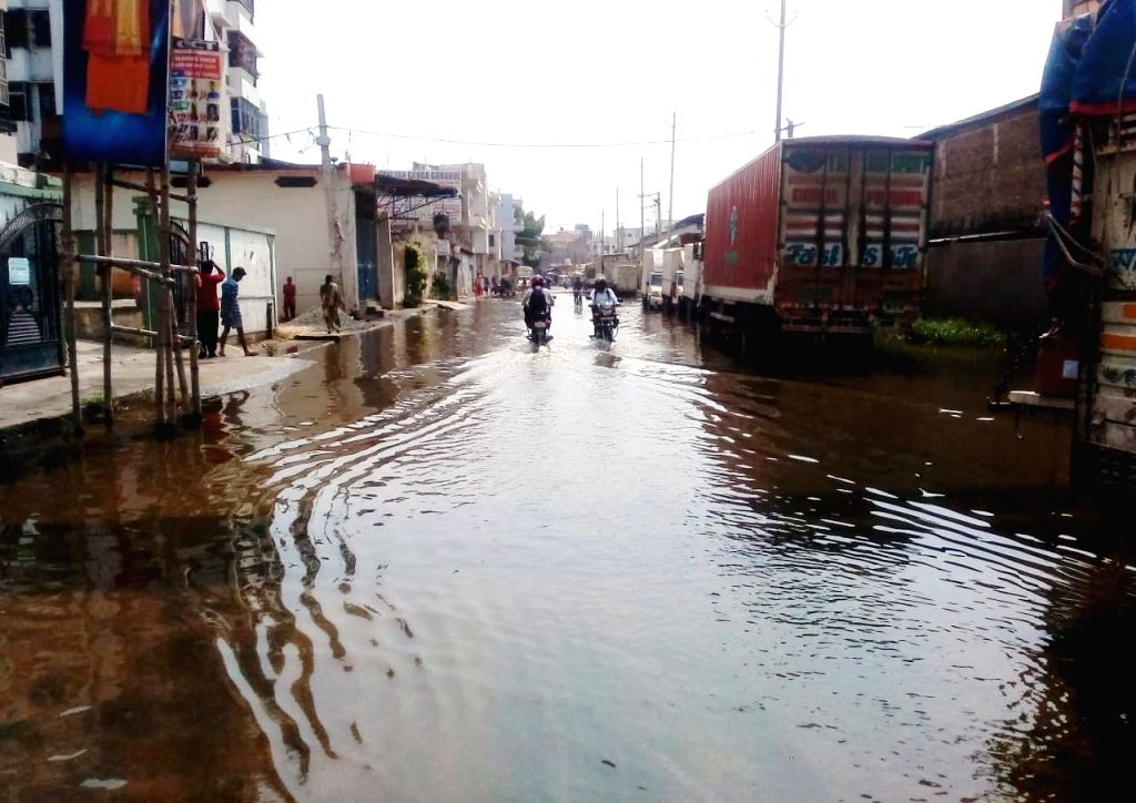 A view of the water-logged Bypass Road near Krishna Niketan, in Patna on Oct 9, 2019.