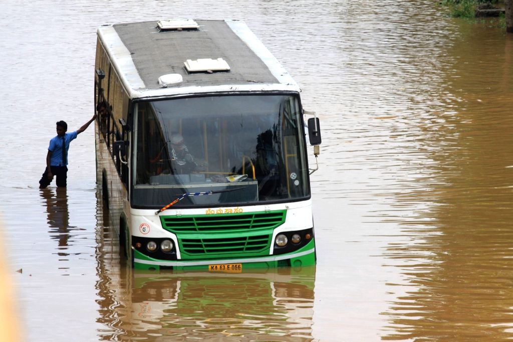 A view of the water-logged streets after rains lashed Bengaluru on Sept 27, 2017.