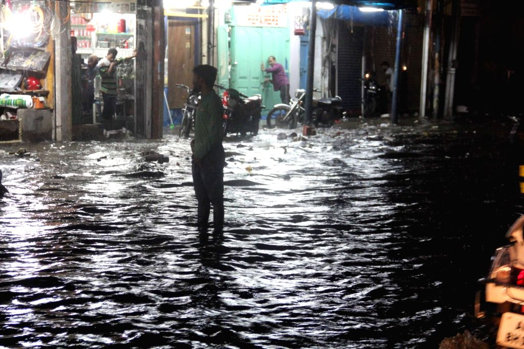 A view of the water-logged streets after rains lashed Hyderabad on Sept 28, 2017.