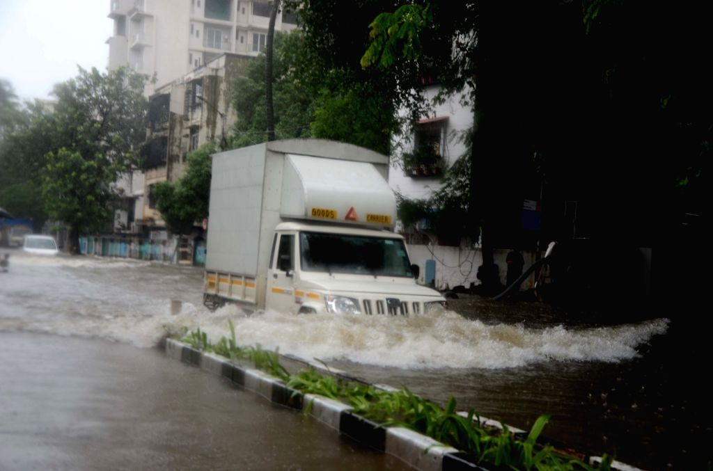 A view of the water-logged streets as heavy rains lash Mumbai on July 8, 2018.