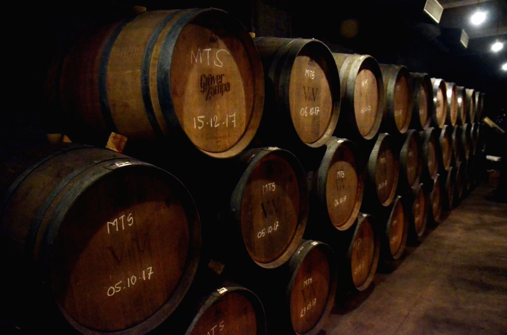 A view of the wine barrels at Grover Zampa winery in Sanjegaon Village of Nasik on Feb 10, 2018.
