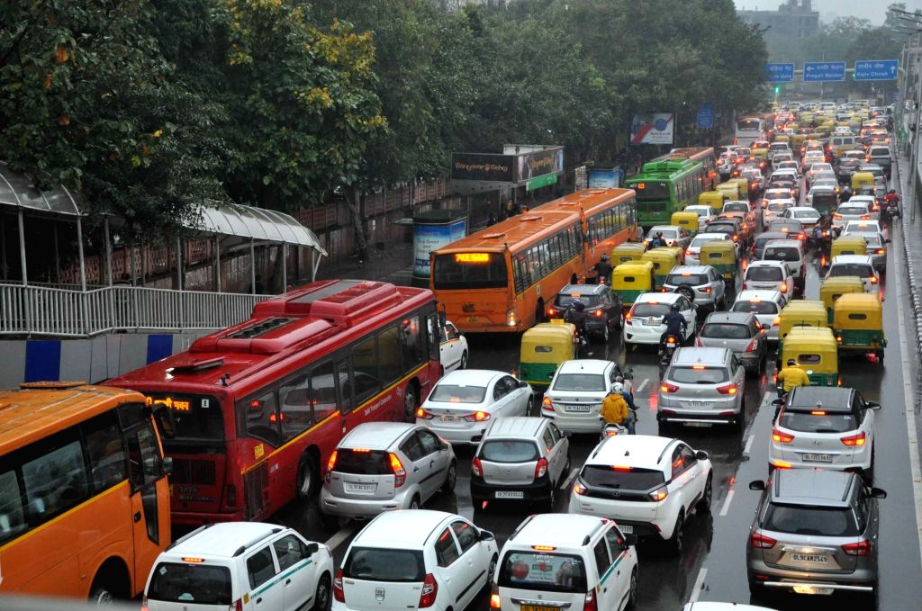 A view of traffic jam after rains lashed New Delhi on Feb 7, 2019.