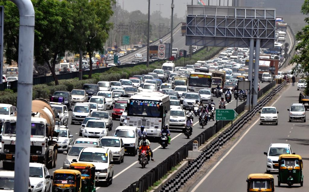 A view of traffic jam in Gurgaon on June 1, 2016.