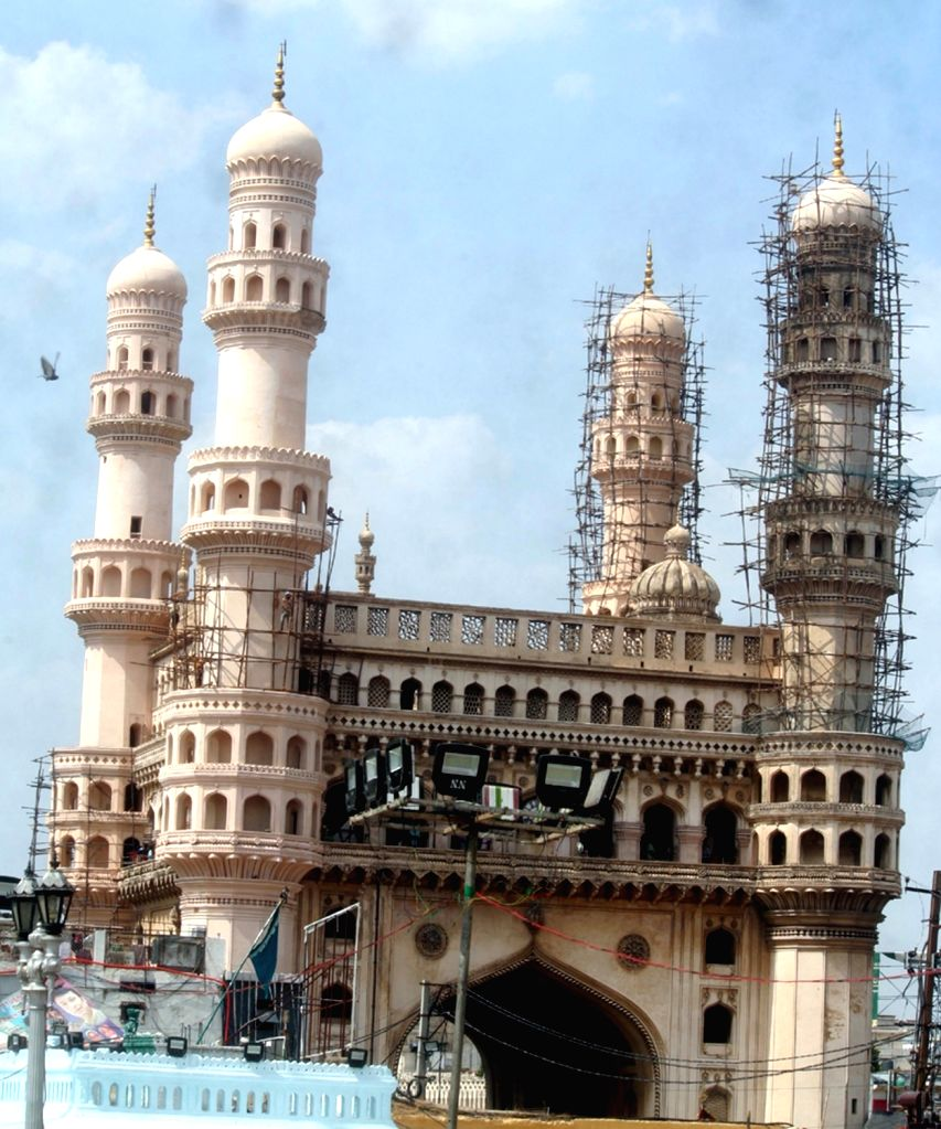 A view of under construction Charminar, where a portion of lime stucco work on one of the minarets of Charminar fell down following unseasonal rains, in Hyderabad on May 5, 2019.