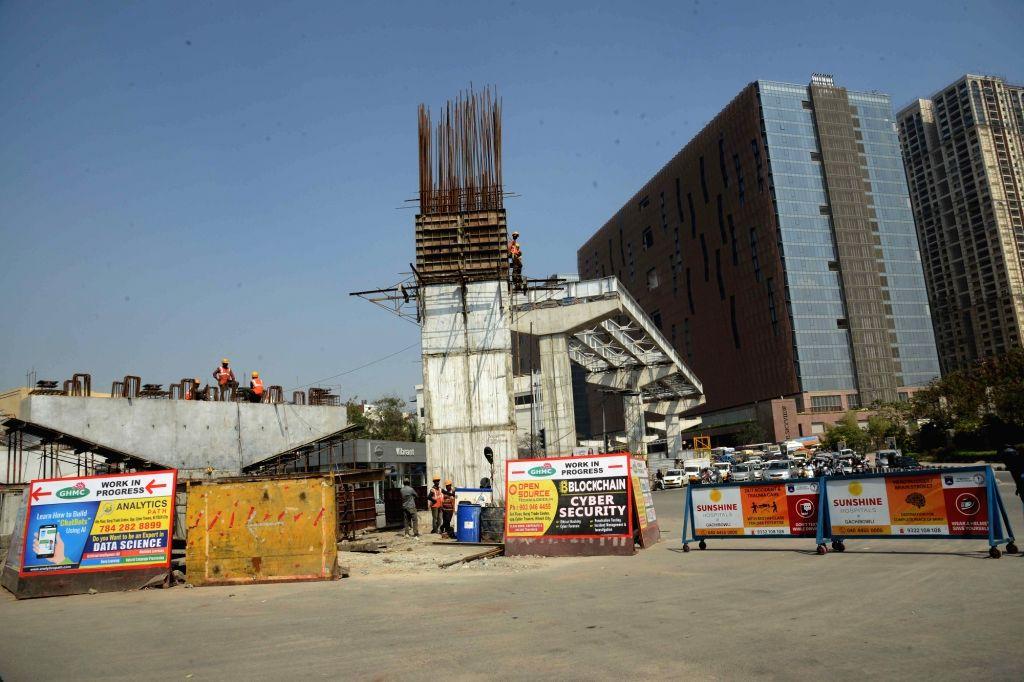 A view of under construction Durgam Cheruvu cable bridge in Hyderabad, on Jan 31, 2019.