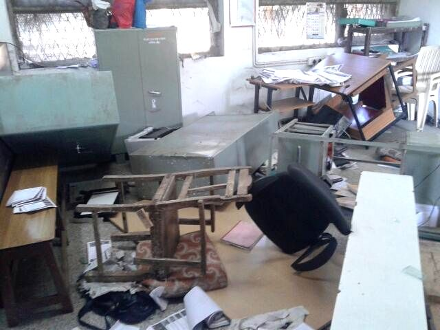 A view of Upanagar police station that was left vandalised allegedly by army personnel in Nashik on Jan 14, 2015.