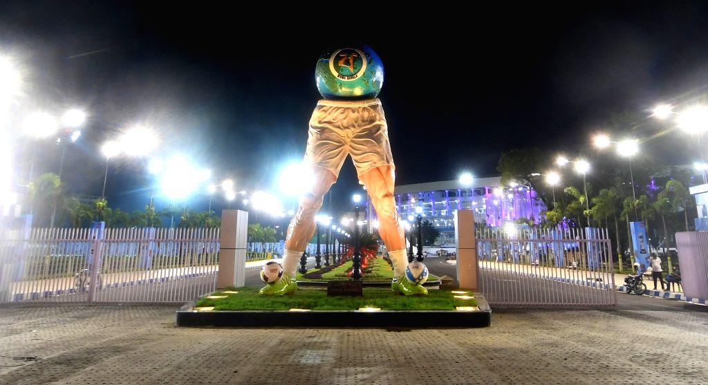 A view of Vivekananda Yuba Bharati Krirangan (VYBK) popularly known as Salt Lake Stadium ahead of  U-17 FIFA World Cup in Kolkata, on Oct 5, 2017.