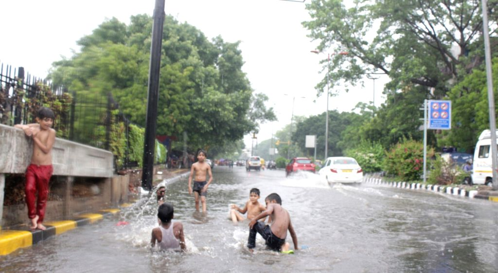A view of water logged roads of Delhi after pre-monsoon showers on June 21, 2017.