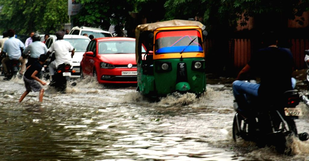 A view of water logged streets in Amritsar on June 27, 2017.