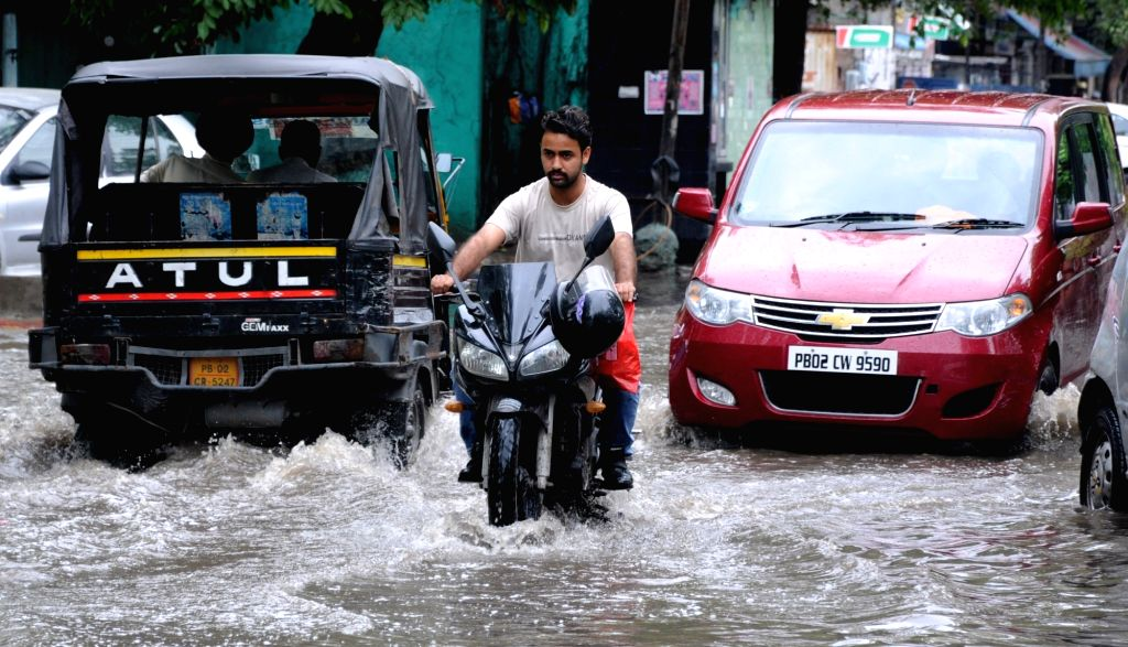 A view of water logged streets of Amritsar after heavy rains lashed the city on July 3, 2018.