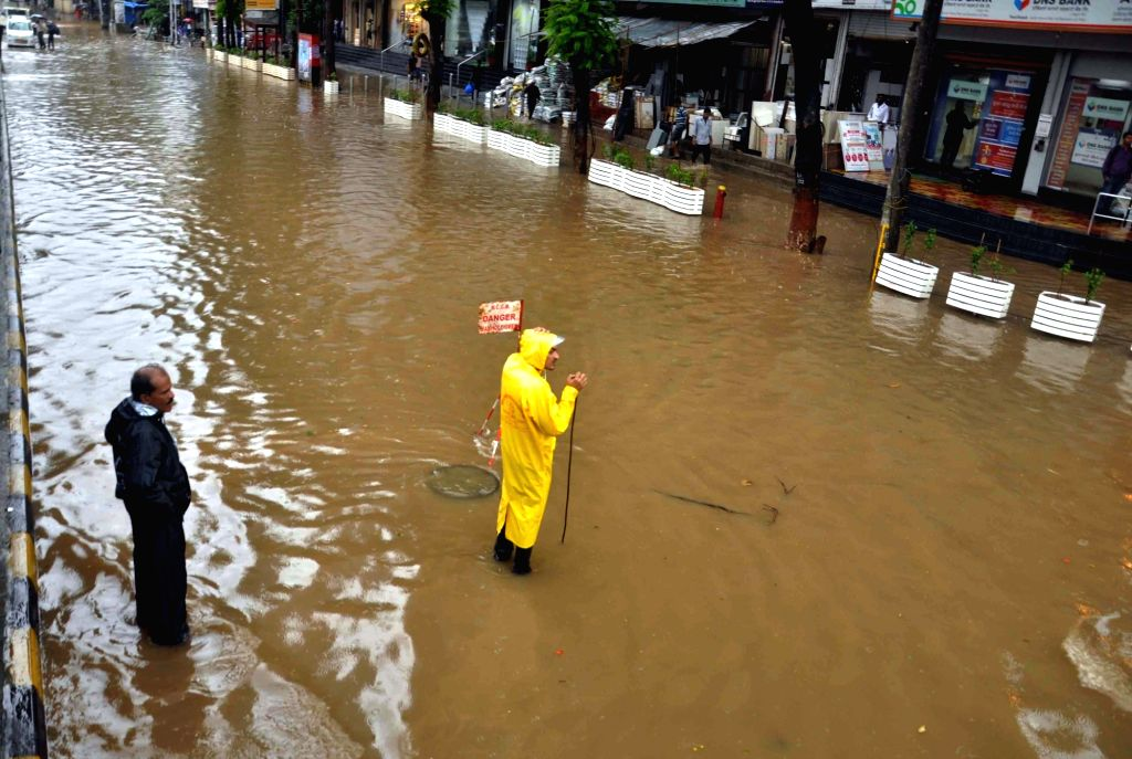 A view of water logged streets of Mumbai after rains on June 24, 2016.