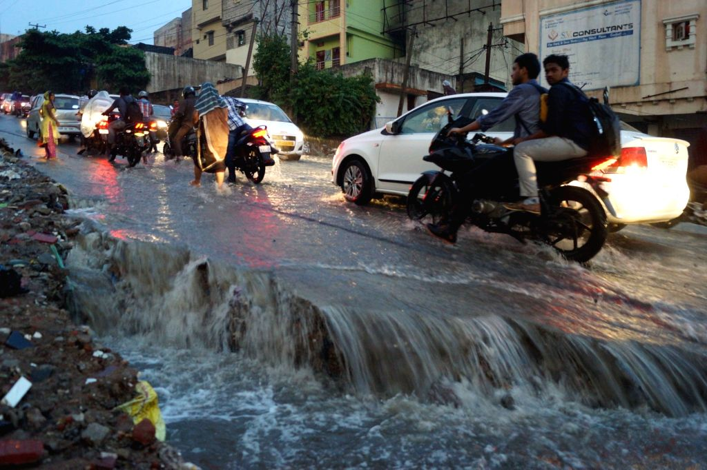 A view of waterlogged streets after heavy rains, in Hyderabad, on Sept 11, 2018.